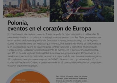 Warsaw featured in the Spanish MICE magazine Eventos Plus